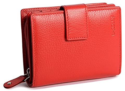 SADDLER Womens Leather Medium Bifold Tab Wallet With Zipper Coin Purse - Red