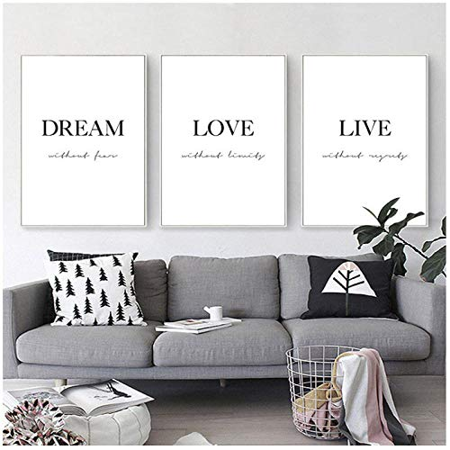 xwlljkcz 3 Piezas Dream Love Motivational Poster Black White Simple Quotes Canvas Wall Art Print Painting Minimalist Room Decoration Picture 40x60cm Sin Marco