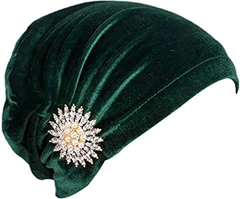 Ababalaya Women's Elegant Soft Gold Velvet Rhinestone Muslim Turban Head Cover Indian Beanie,Greenery