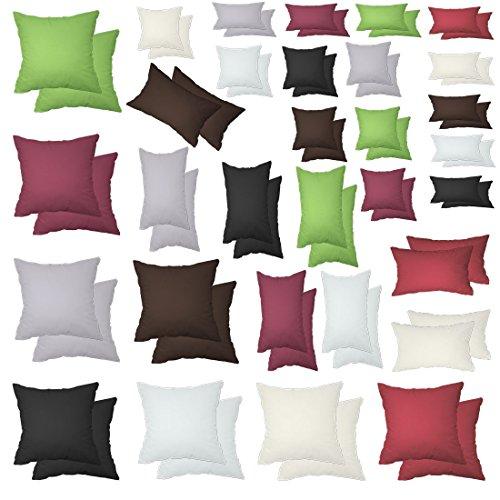 Texmania 2er Spar-Pack Kissenhüllen Baumwolle in 15 12 Größen mit Reißverschluss Anthrazit 40 x...