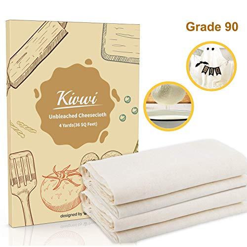 kivwi Besteckmotiv, Grade 90, 36Sq Füße, wiederverwendbar, 100% ungebleichte Baumwolle Stoff, Ultra Fine, Etamine für Kochen-Nussmilchbeutel, Sieb, Filter (90-4yards) (Oganic Baumwolle, Grade 90) -