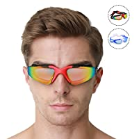 HybLc Swimming Goggles No Leaking Anti-Fog UV Protection with Ear Plugs and Free Protection Case, Swim Goggles Comfortable Fit for Adult Men Women Youth Kids Child from