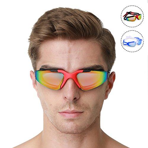 Gafas de Natación, EveShine Gafas para Nadar Antiempañado y Anti Rayos UV Para Hombres Mujeres Adultos Jóvenes Niños Niño - Lo Mejor Para Hombres, Mujeres, Niños - Ideal para Todo Tipo de Agua, Piscina, Deportes Acuáticos( Negro y rojo)