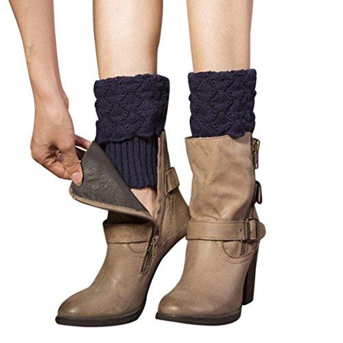 Tricot Crochet Boots Cover Femme, Amlaiworld Poignets de botte d'hiver de crochet Chaussettes de botte de tricot Jambières chaussettes