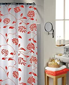 Swish Shower Curtain 100% Polyester, mould-resistant, with 12 rings Camden rosso