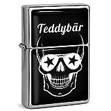 PhotoFancy® - Sturmfeuerzeug Set mit Namen Teddybär - Feuerzeug mit Design Totenkopf - Benzinfeuerzeug, Sturm-Feuerzeug