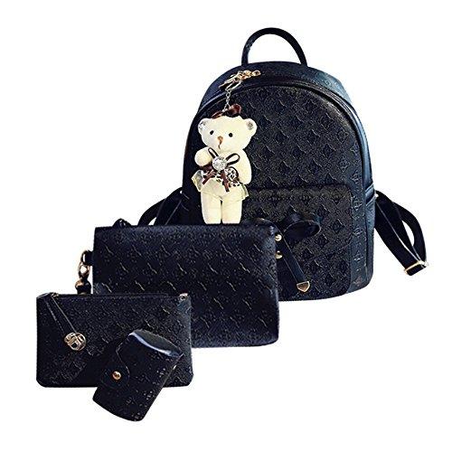 Beikoard cardbags svegli della scuola delle borse di spalla sveglie di cuoio di modo per le ragazze delle donne(nero)