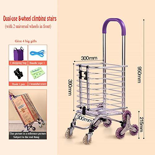 YOLL Edelstahl Leichter, strapazierfähiger Einkaufswagen aus Mikrofaser Faltbar Geeignet für Junge Leute, Treppensteigen Leicht zu transportierendes und Nicht besetztes Supermarkt-Reisepicknick,B