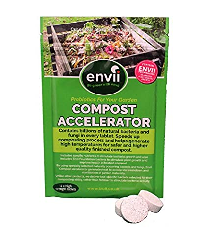 Envii Compost Accelerator - Bacterial Treatment Speeds Up Composting Process Organic Decomposer & Starter – 12 Tablets