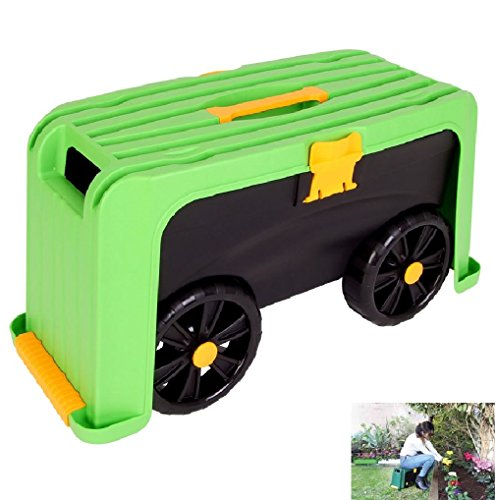 4 in 1 Rollbarer Gartenhocker Gartenwagen Transport Rollhocker Transportbox Kniebank