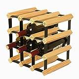 Hölzerner stapelbarer Wein-Gestell-12 Flaschen-Halter-Freier stehender Anzeigen-Speicher, Wobble-Frei, für Bar, Weinkeller, Keller, Kabinett, Pantry (Farbe : Holzfarbe)
