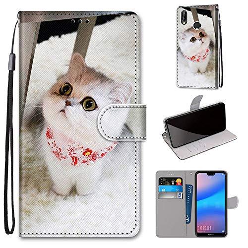 Miagon Flip PU Leder Schutzhülle für Huawei P Smart 2019,Bunt Muster Hülle Brieftasche Case Cover Ständer mit Kartenfächer Trageschlaufe,Schal Katze