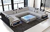 Sofa Dreams Luxus Stoff Wohnlandschaft Ragusa U Form mit LED Beleuchtung