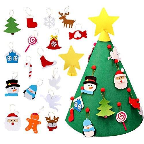AerWo FAI DA Te Albero di Natale in Feltro con 26 Ornamenti Regali di Natale di Capodanno per i Bambini Regalo di Natale Decorazioni per la casa di Natale