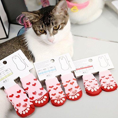 Hemore - Calcetines para Mascotas de algodón Suave y Puro, para Perros y Gatos, Calcetines de Interior para el Suelo