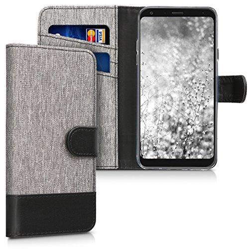 kwmobile LG Q7 / Q7+ / Q7a (Alpha) Hülle - Kunstleder Wallet Case für LG Q7 / Q7+ / Q7a (Alpha) mit Kartenfächern & Stand - Grau Schwarz