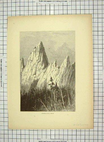 Burgartige Berge Kalifornien Amerika des Felsen-C1880
