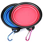 H&S 2 Dog Bowl Collapsible Travel Dog Water Bowl Portable Cat Pet Silicone Food Bowl Small 5154keQZALL