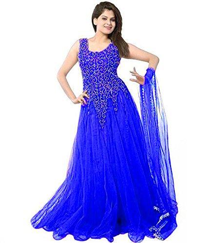 Clickedia Women\'s Net Dress Material (Royal blue net gown_Royal Blue)