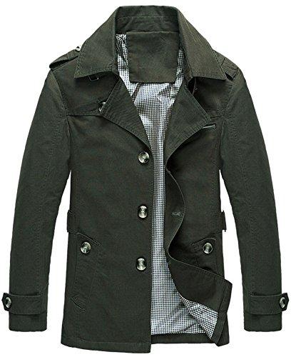 Mochoose Herren Trench Baumwolljacke Klassische Reverse Kragen Knopf Mantel Jacke Langarm(Armeegrün,L) (Mantel Herren Kragen)