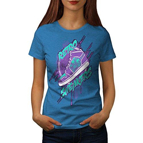 Wellcoda Retro Turnschuhe Jahrgang Beute Trend Frau 2XL T-Shirt (Blaue Beute-leder-schuhe)