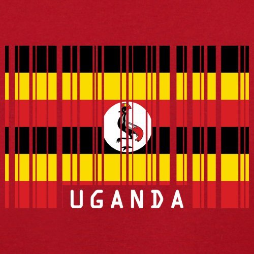 Uganda / Republik Uganda Barcode Flagge - Herren T-Shirt - 13 Farben Rot