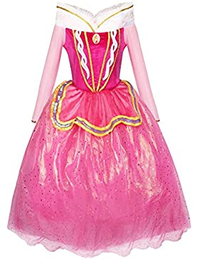 Katara 1742 - Märchen Prinzessin Kostüm-Kleid für Mädchen inspiriert von Disney's Aurora für Fasching