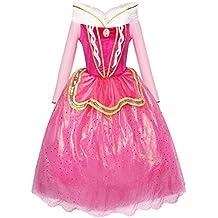 Katara 1742 Costume per bambine Vestito da principessa Aurora di La bella addormentata - Abito rosa per feste a tema, carnevali, compleanni - 6-7 anni