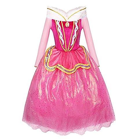 Katara 1742 - Märchen Prinzessin Kostüm-Kleid für Mädchen inspiriert von Disney's Aurora für Fasching, rosa