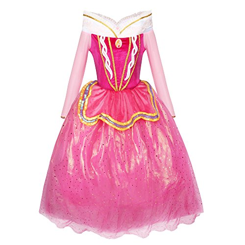 Imagen de katara 1742 disfraz para niña inspirado en aurora de disney rosa rosa 128/134 etikett 140