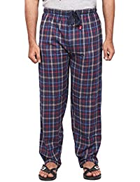Twist Men's Navy Blue And Red Checked 100% Cotton Pyjama Sleepwear Night Wear With Contrast & Free Shipping