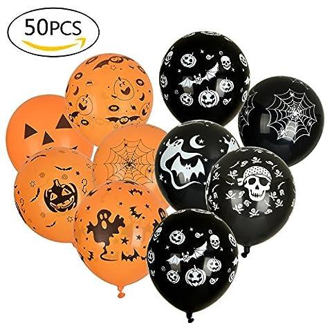 50 Pack Halloween Ballons mit verschiedenen Motiven für Dekoration [Schwarz / Orange]