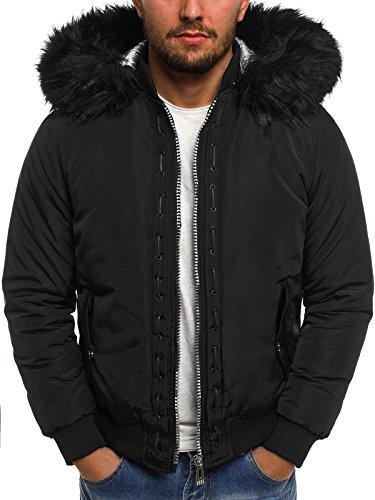 OZONEE Herren Winterjacke Jacke Parka Kapuzenjacke Sportjacke Wärmejacke Coat X-FEEL 88659 SCHWARZ L