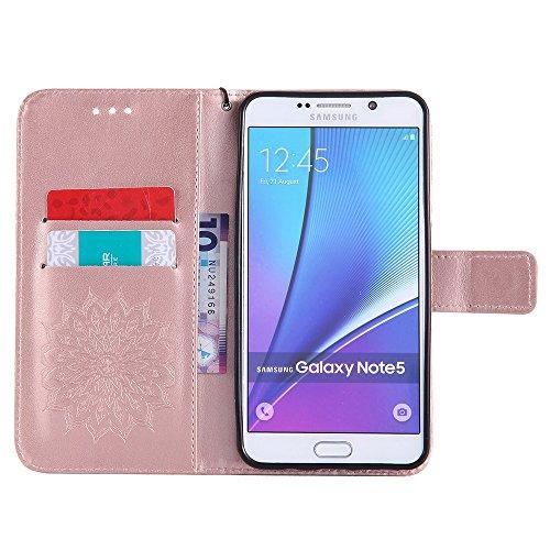 Für Samsung Galaxy Note 5 Fall, Prägen Sonnenblume Magnetische Muster Premium Weiche PU Leder Brieftasche Stand Case Cover mit Lanyard & Halter & Card Slots ( Color : Rose Gold ) Rose Gold