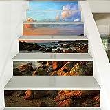 Adhesivo De Escalera Cielo Azul Nube Blanca Piedra De Mar Escena Hermosa Escalera Escalera Pegatina Entrada De Pared Decoración De Pared Removible Etiqueta (100cm*18cm)6pcs