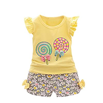 OSYARD Baby-Girl Clothes Set, 2PCS Toddler Kids Baby Girls Outfits Lollipop T-Shirt Tops+Short Pants Cotton Jumpsuit Bodysuit (,) : everything £5 (or less!)