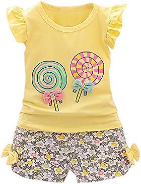 Hoplsen 2 Piezas Bebé Niña Trajes Lolly Camiseta Tops + Corto Pantalones Manga Corta Primavera Verano Conjunto...