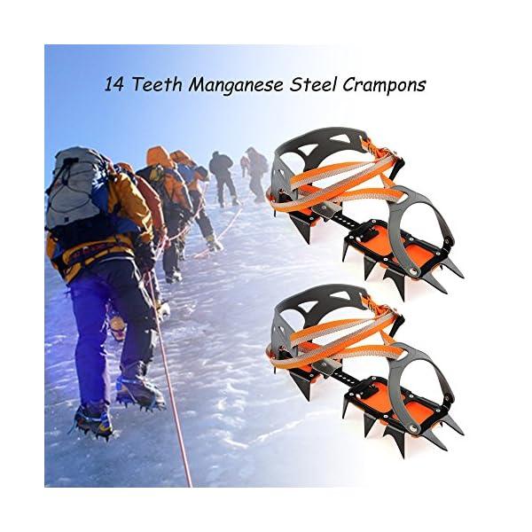 Docooler 14 Puntos Pinzas Dentadas Crampones Escalada en Hielo de Acero al Manganeso Crampón Dispositivo de Tracción (Naranja) 2