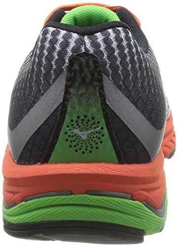 Mizuno Wave Elevation Scarpe sportive, Uomo, Turbulence/Limepunch/Classicgreen White/Greenflash/Tangerinetango