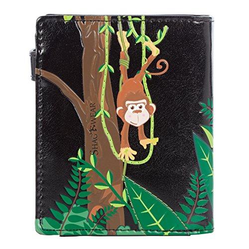 Shagwear portafoglio per giovani donne Small Purse : Diversi colori e design: scimmia nera/ Swinging Monkey
