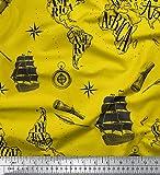 Soimoi Amarillo rayo de crepé Tela barco pirata y telescopio mapa tela estampada de por metro 46 Pulgadas de ancho