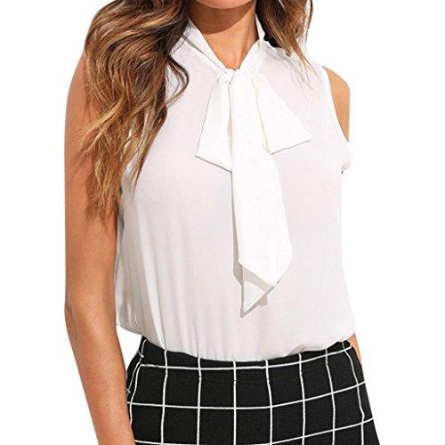 OYSOHE Bluse Damen Weiß, Neueste Sommer Frauen Chiffon Fliege Weiß Büro Arbeit beiläufiges Behälter Blusen