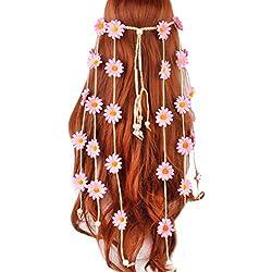 FATTERYU Mujeres Festival de Niñas Bohemio Artificial Girasol Diadema Trenzado Ajustable Colorido Corona de Margarita Cabello Corona Nupcial Tocado