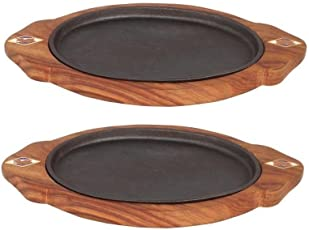 """Sizzler plate with Wooden Base Oval, 13"""" 7"""", Brown, 2 Piece"""