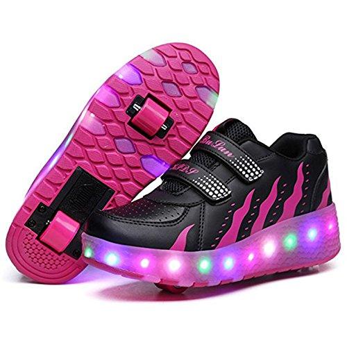 b0e4c096b35f2a Skateboardschuhe mit 2 Rollen LED Kinder Schuhe mit Rollen Jungen Mädchen  Turnschuhe Sportschuhe Laufschuhe Sneakers mit