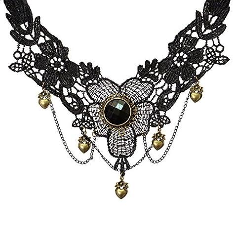 YAZILIND Collar Handmade Lolita Heart Drop Pendant Lace Choker Necklace Black Multi Chain