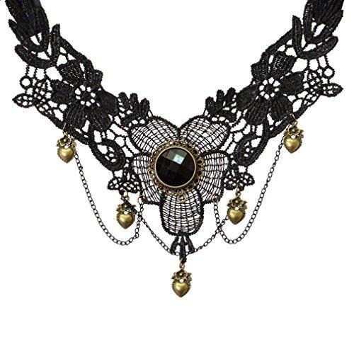 Yazilind Schmuck halsband Halskette Handmade Lolita Herz-Tropfen -Anhänger -Halskette Spitze Schwarz Multi Gothic Kette fürFrauen