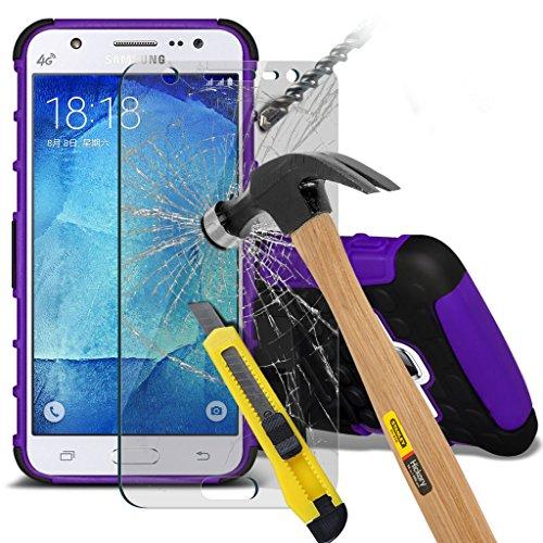 Samsung Galaxy J5 2016 [J510FN, J510F, J510G, J510Y, J510M] Hülle Etui Fall (Pink) Slim-Fit-Abdeckung für Samsung-Galaxie J5 2016 Hülle Etui Fall Haltbarer S Linie Wellen-Gel-Kasten-Haut-Abdeckung + L Shock+ glass (Purple)