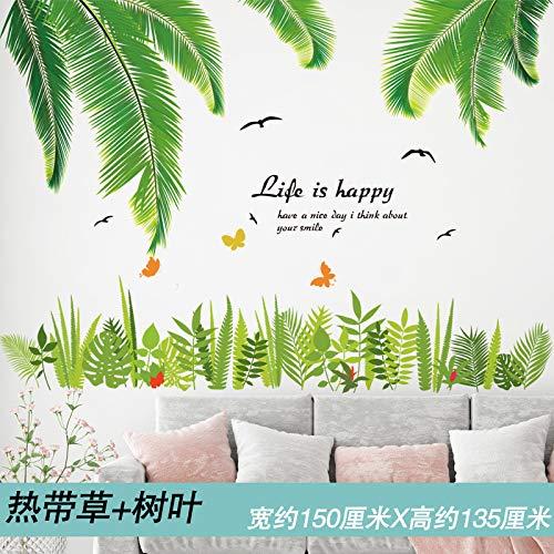 (Leaf Ornament grünen Garten grünen Blatt Sockellinie Taille PVC selbstklebend, Palmblatt tropischen Gras, Oversize)