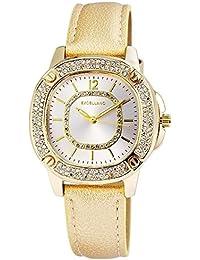 Excellanc llanc Mujer Reloj con piel imitations pulsera color oro con cristales brillantes Moderno elegante mujer reloj de pulsera